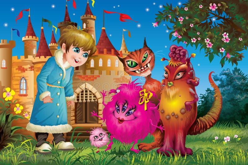 有妖怪的男孩城堡的在晚上 图库摄影