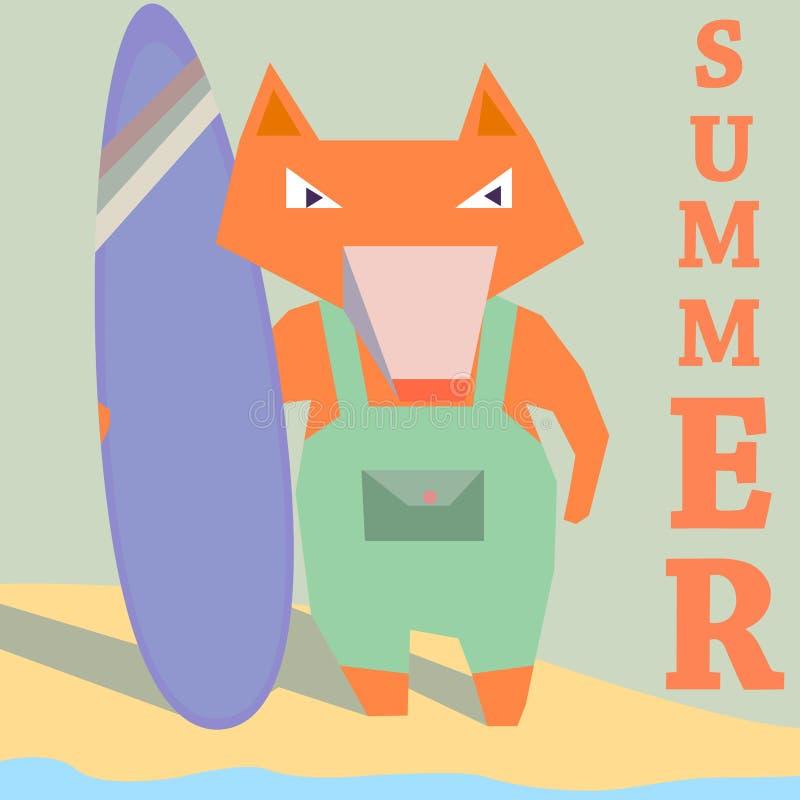 有委员会的Fox冲浪者海滩海边夏天海浪的 库存例证