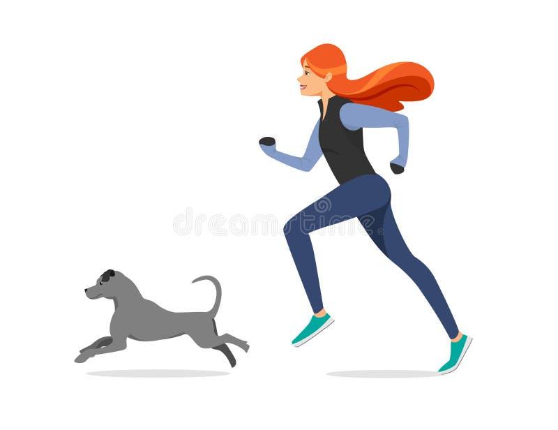 有姜头发的女孩在体育与狗的布料奔跑 库存例证