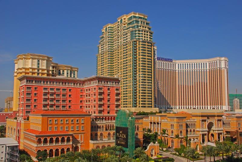 有威尼斯式和广场的澳门赌博娱乐场 库存图片