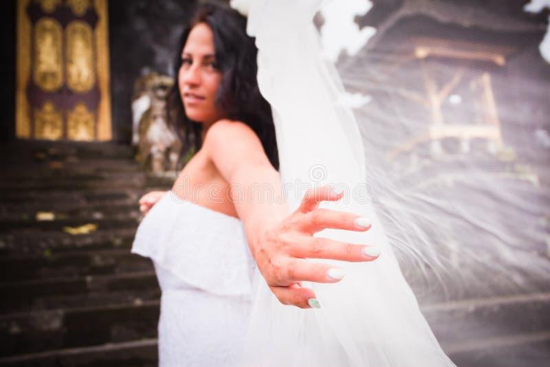 有婚礼面纱的新娘 库存照片