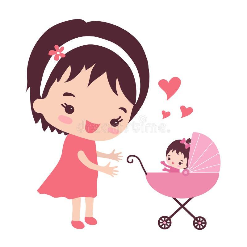 有婴儿推车的一个年轻母亲 皇族释放例证