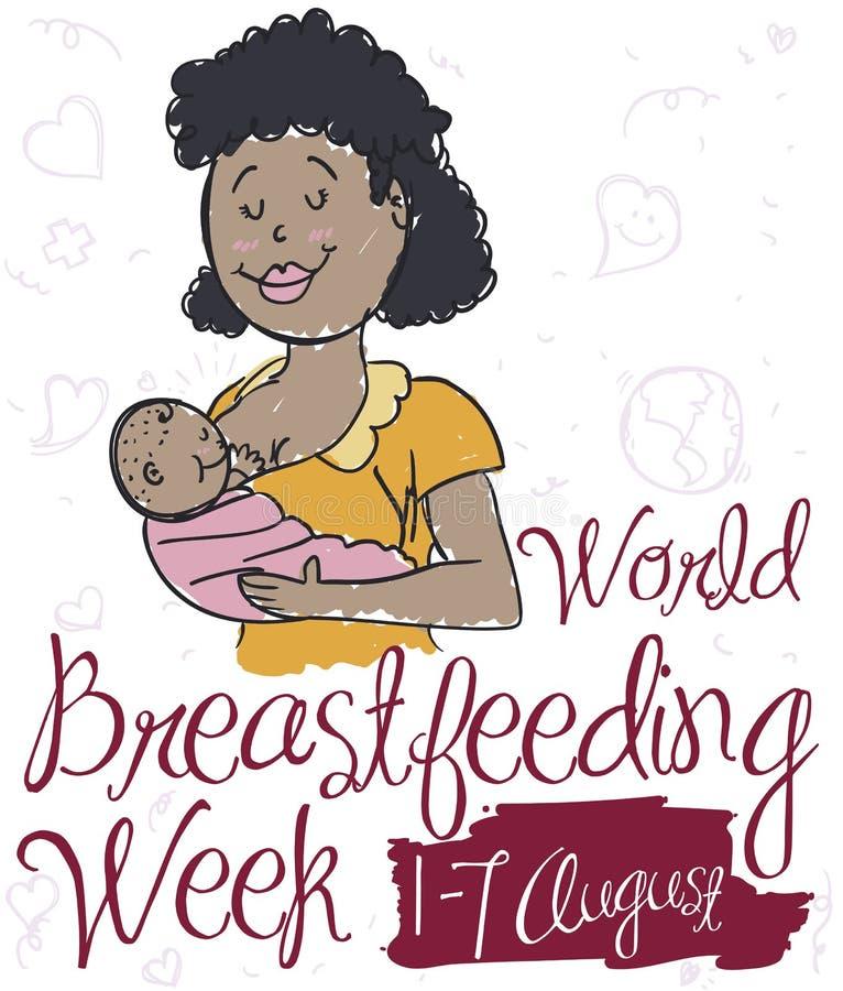 有婴孩的深色的妈妈为与乱画的世界哺乳的星期,传染媒介例证 向量例证