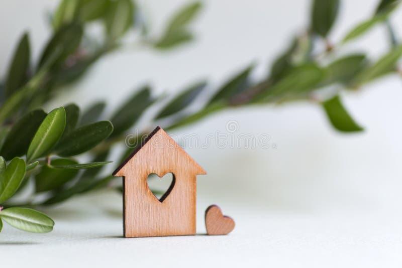 有孔的特写镜头木房子以心脏的形式与绿色黄杨属分支的在与拷贝空间的轻的背景 生态自然 图库摄影