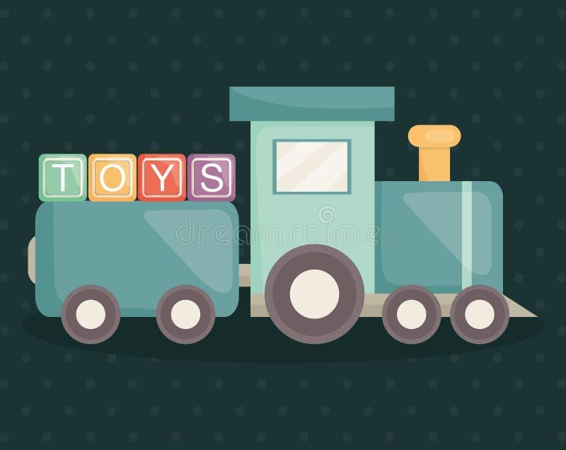 有字母表块玩具的火车 皇族释放例证