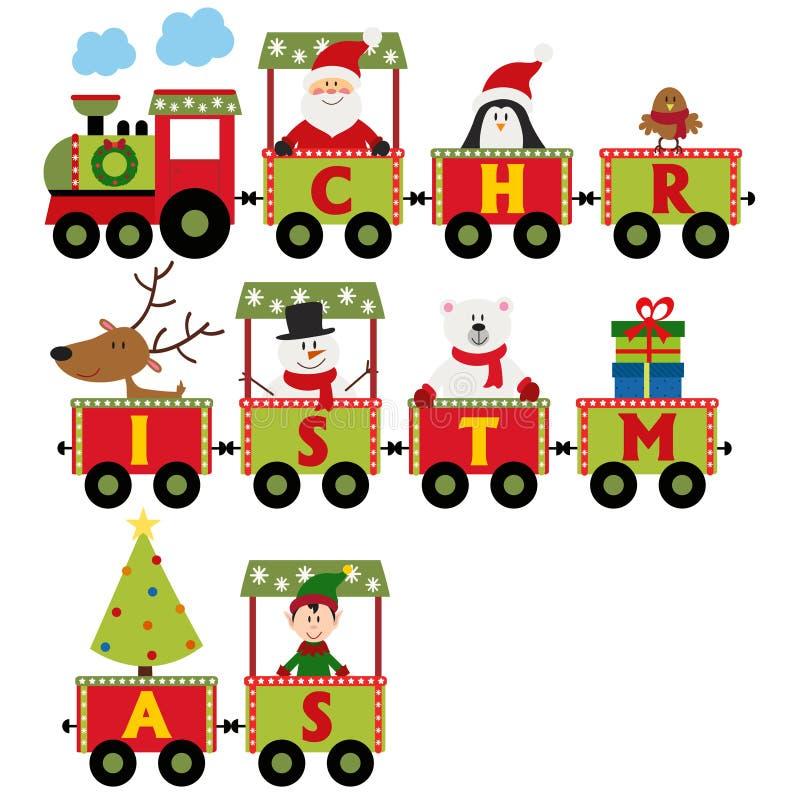 有字符的圣诞节火车 皇族释放例证