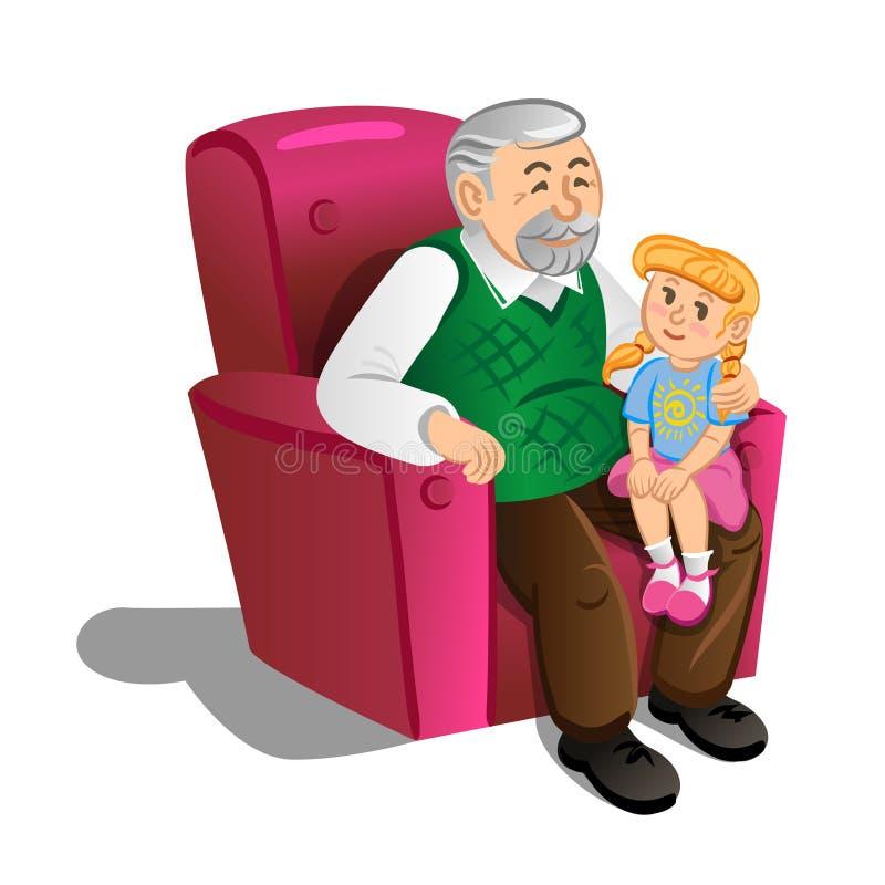 有孙女的祖父 在动画片样式的例证