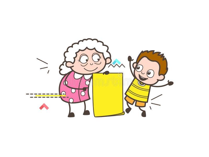 有孙子和消息横幅传染媒介例证的动画片老婆婆 皇族释放例证