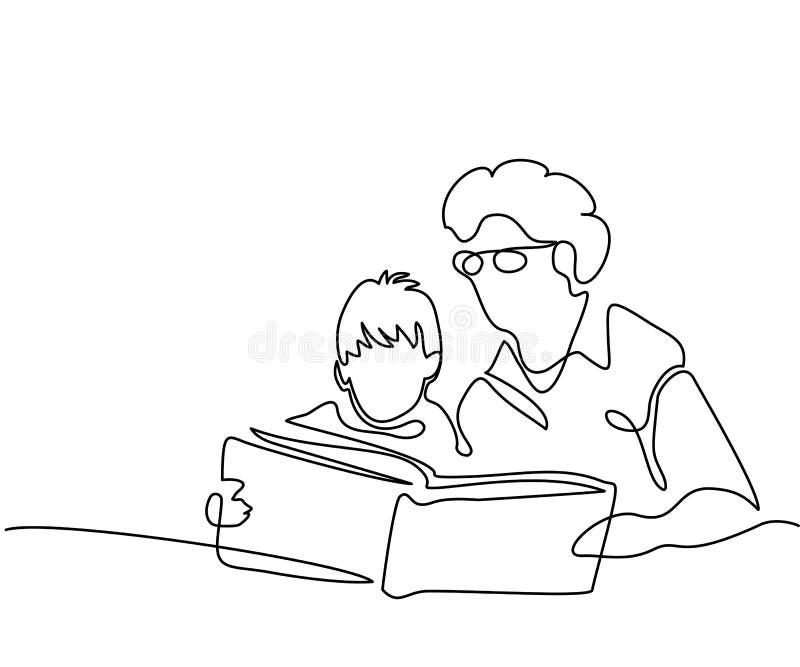有孙子阅读书的祖母 库存例证