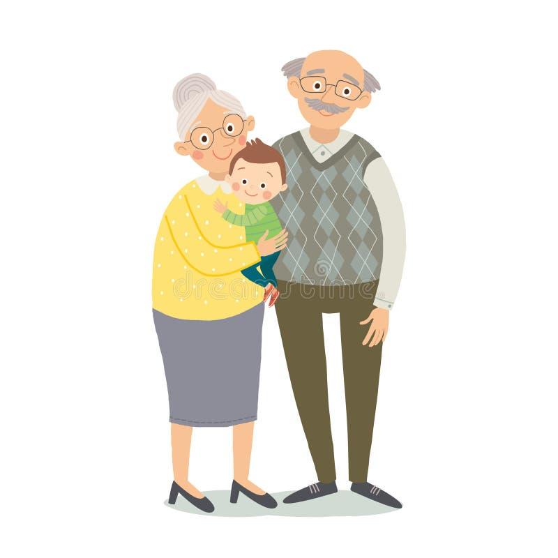 有孙的祖父项 祖母、grandfother和小孙子 动画片传染媒介手拉的eps 10孩子的 向量例证