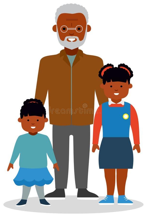 有孙的祖父,有不同的年龄的两个女孩的 向量例证