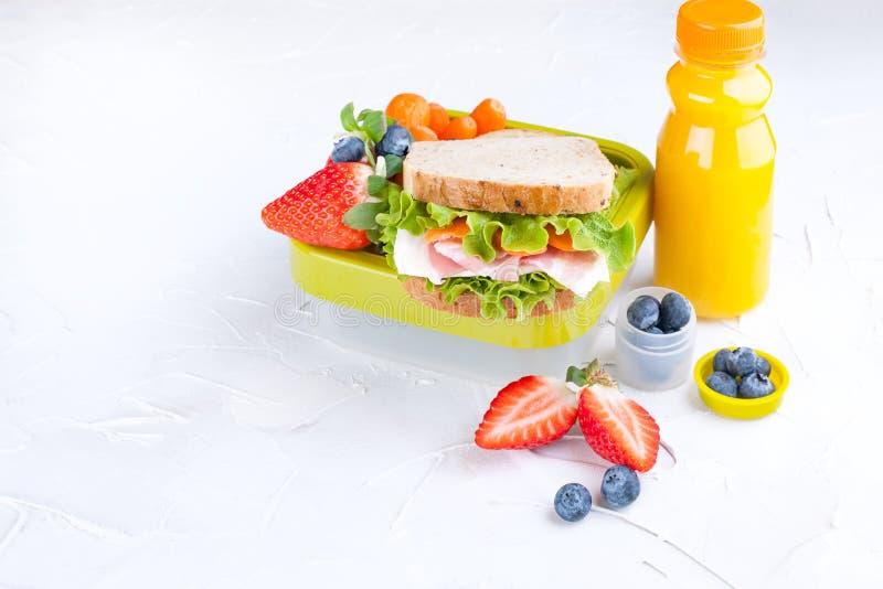有学校午餐和一个瓶的箱子汁液 三明治用乳酪和沙拉,婴儿食品的新鲜的莓果 轻的背景和 库存照片