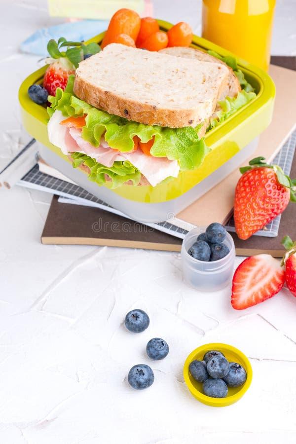 有学校午餐和一个瓶的箱子汁液 乳酪和莴苣三明治、新鲜的莓果婴儿食品的和书 r 库存照片
