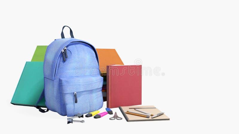 有学校用品的3d蓝色背包在白色不回报阴影 皇族释放例证