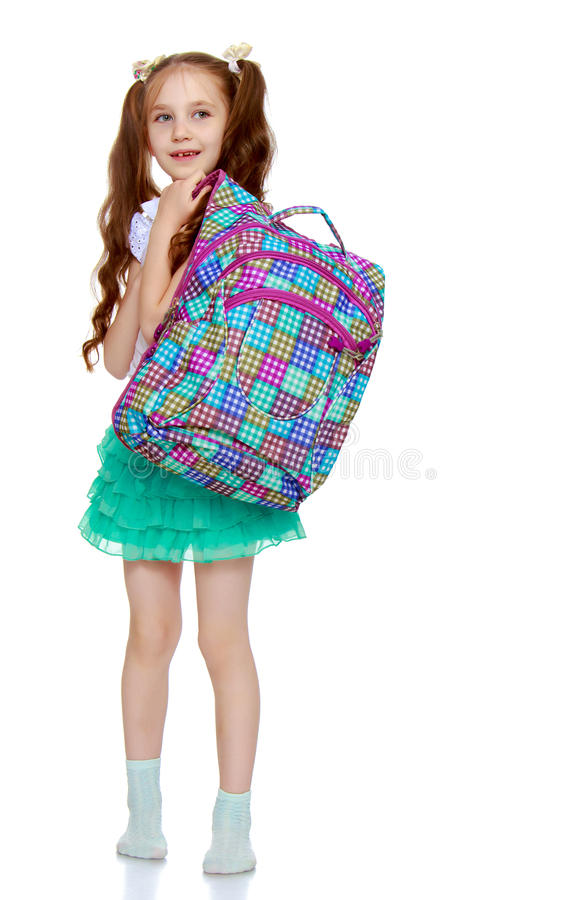 有学校股份单的女孩 免版税库存图片