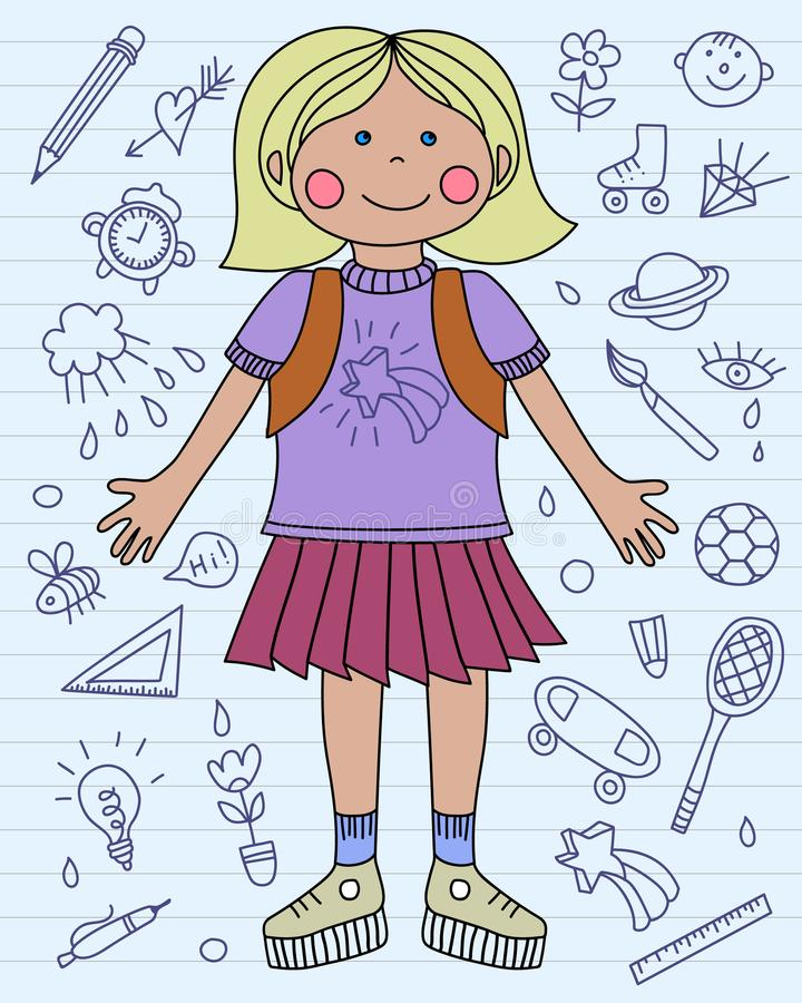 有学校背包和学校象的女孩 回到学校 蓝色 库存例证