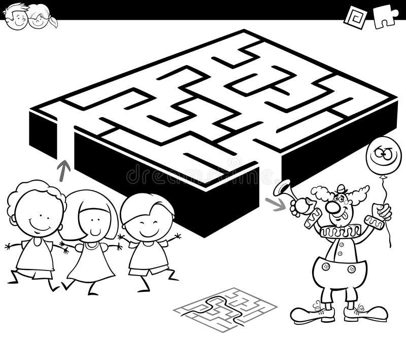 有孩子和小丑的迷宫上色的 皇族释放例证