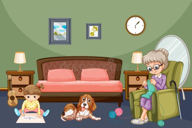 有孩子和狗的祖母在屋子里 皇族释放例证