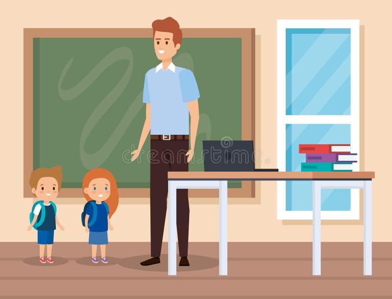 有孩子和膝上型计算机的人老师有书的 向量例证