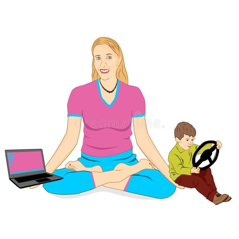 有孩子和膝上型计算机的成人年轻女人在莲花姿势 皇族释放例证