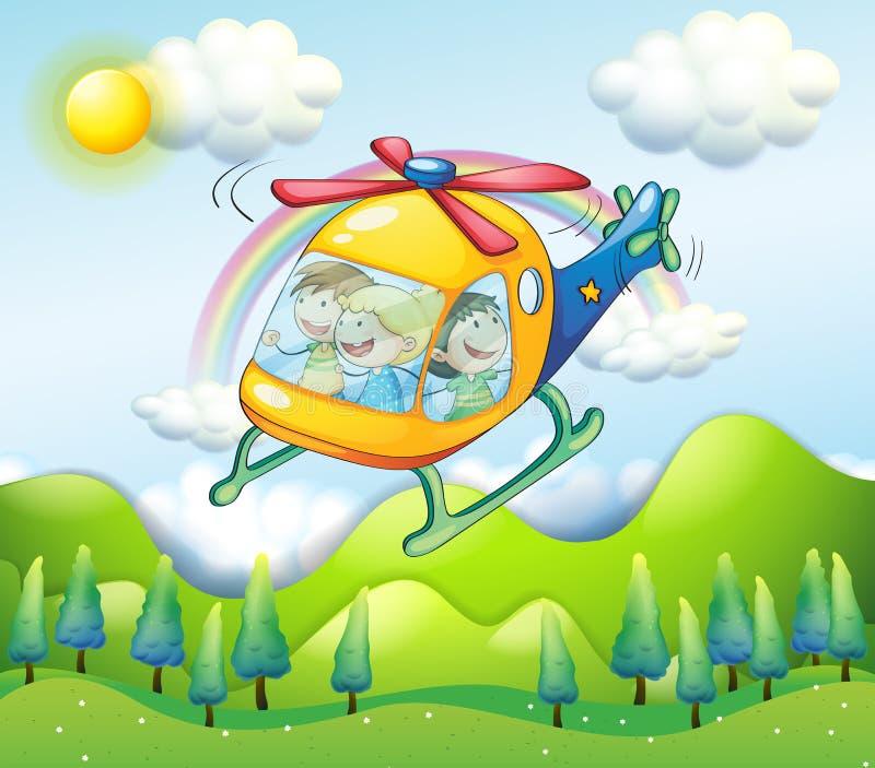 有孩子的一架直升机 皇族释放例证