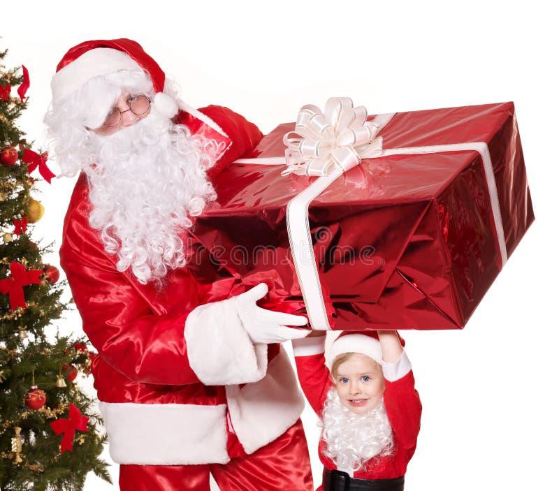 有孩子的圣诞老人家庭。 图库摄影