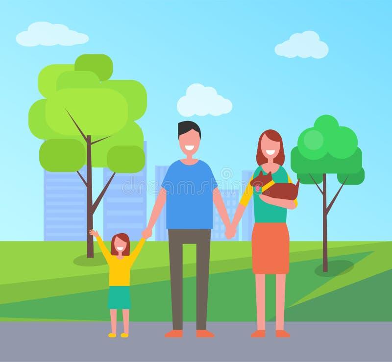 有孩子的家庭父母在公园传染媒介例证 皇族释放例证