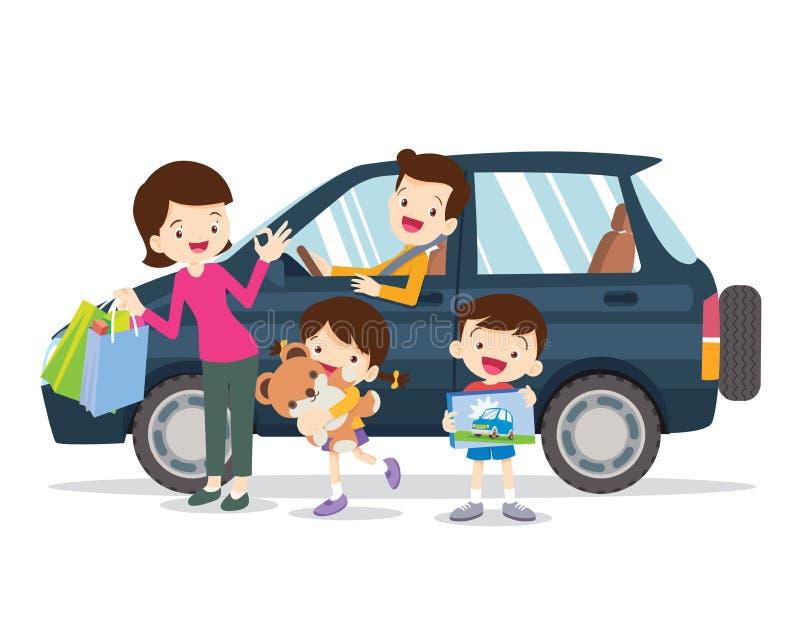 有孩子的年轻家庭继续旅行乘汽车 坐在汽车的人集合父亲、母亲和孩子 皇族释放例证