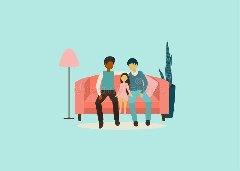 有孩子的年轻快乐家庭长沙发的 库存例证