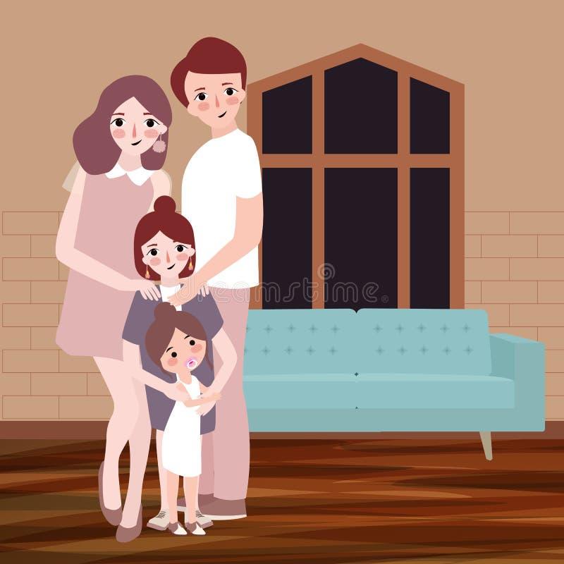有孩子的年轻愉快的家庭在背景中摆在室内客厅hous与沙发 传染媒介图画例证 库存例证