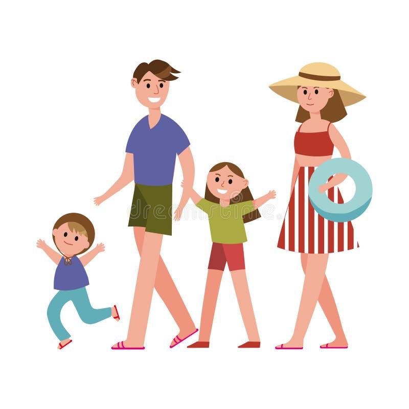 有孩子的愉快的父母在暑假漫画人物,海滩假日导航例证 向量例证