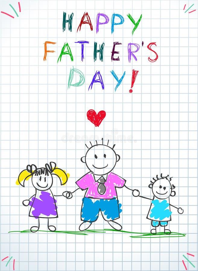 有孩子的爸爸,愉快的父亲节婴孩贺卡 库存例证