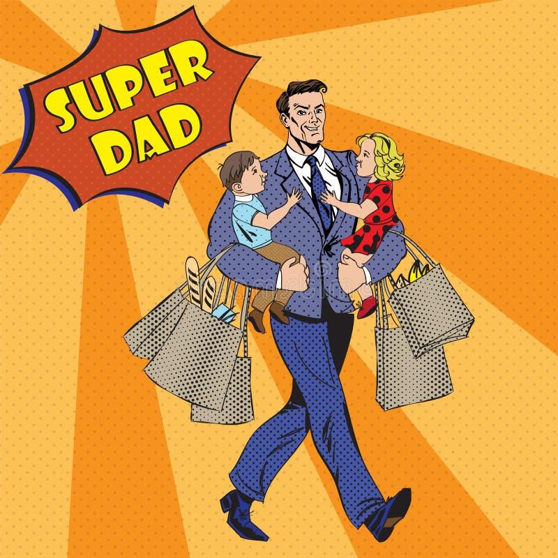 有孩子的超级爸爸在他的手和购物袋上 库存例证