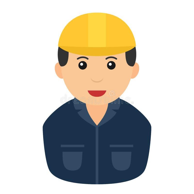 具体化平的象系列:有黄色安全帽的白种人建筑工人人,隔绝在白色背景图片