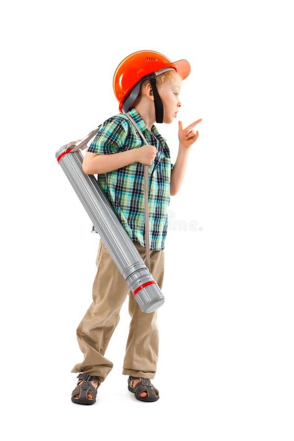 有安全帽的小男孩 图库摄影