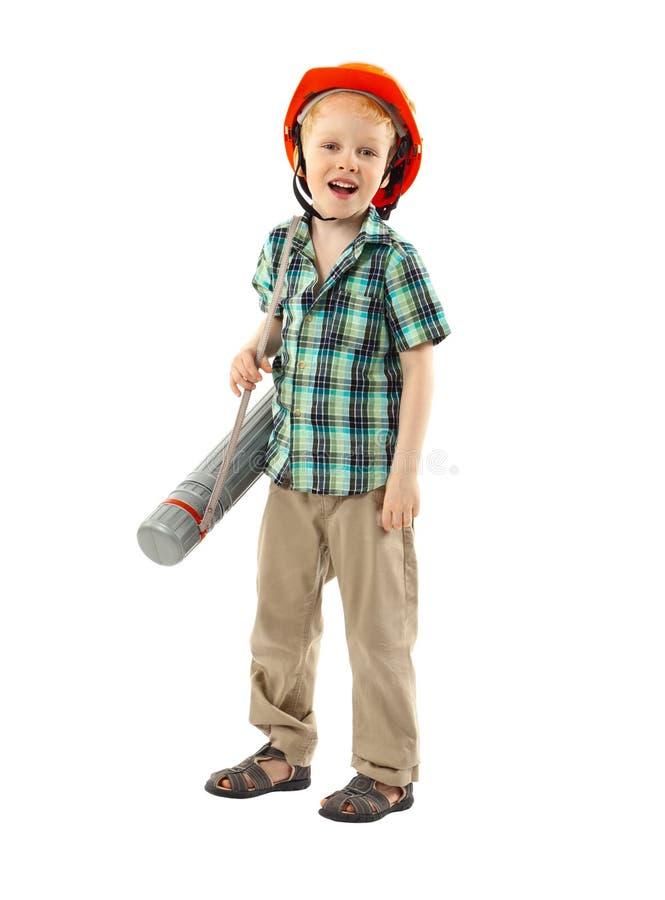 有安全帽的小男孩 免版税库存照片