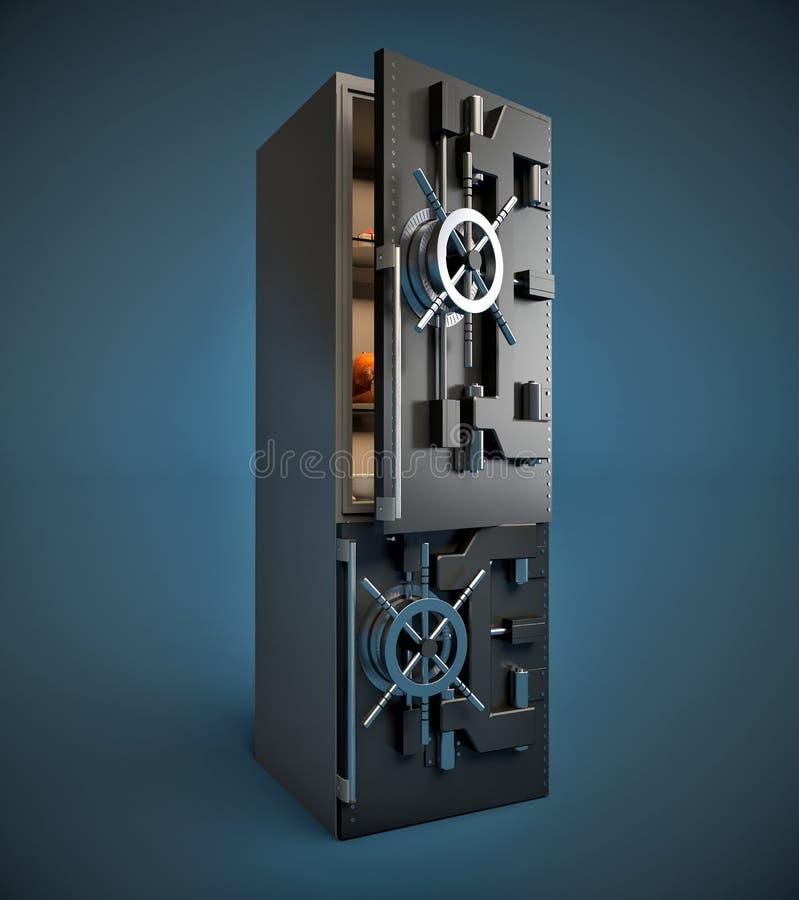 有安全门的现代冰箱 在背景空白弓概念节食的显示评定编号附近自己的缩放比例磁带文本附加的空白视窗包裹了您 向量例证