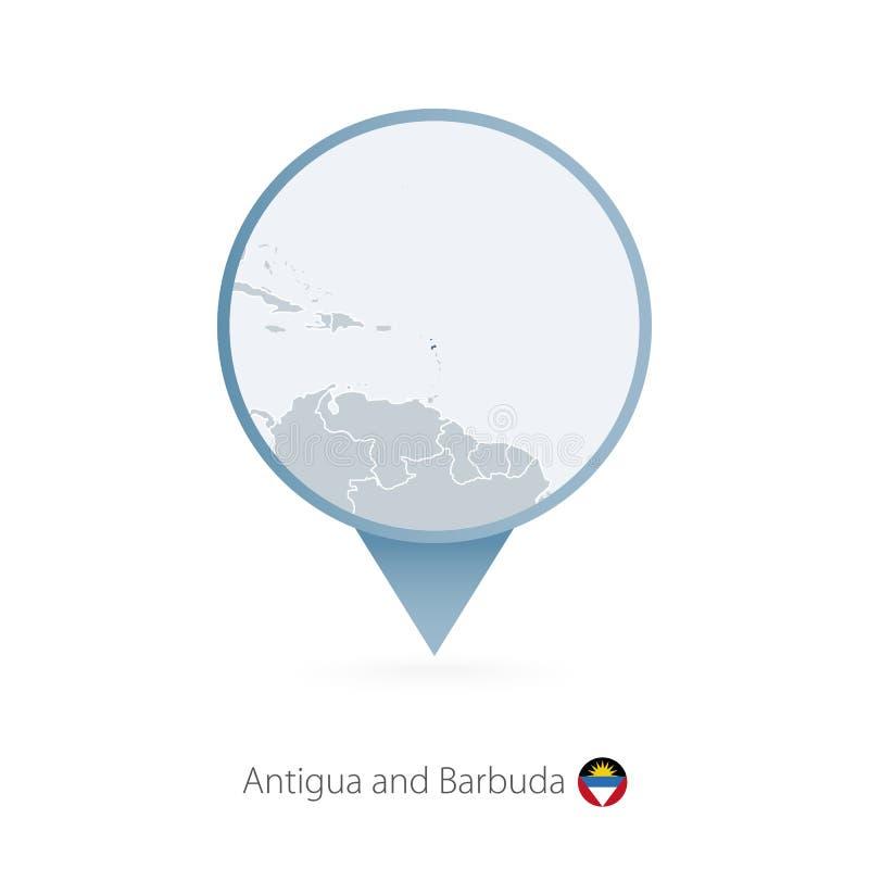 有安提瓜和巴布达和邻国详细的地图的地图别针  向量例证