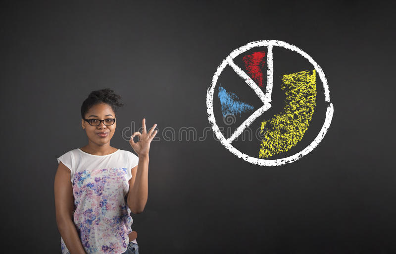 有完善的手势和圆形统计图表的非洲妇女在黑板背景 库存照片