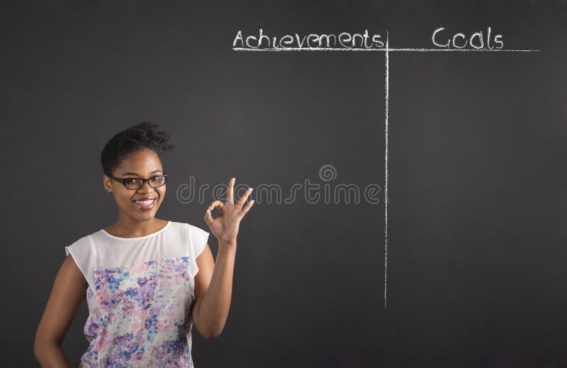 有完善的手势的非洲妇女与成就和目标在黑板背景列出 免版税库存照片