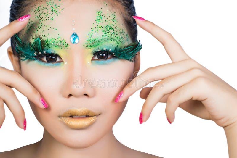 有完善的艺术的美丽的妇女组成和长的错误eyelashe 库存图片