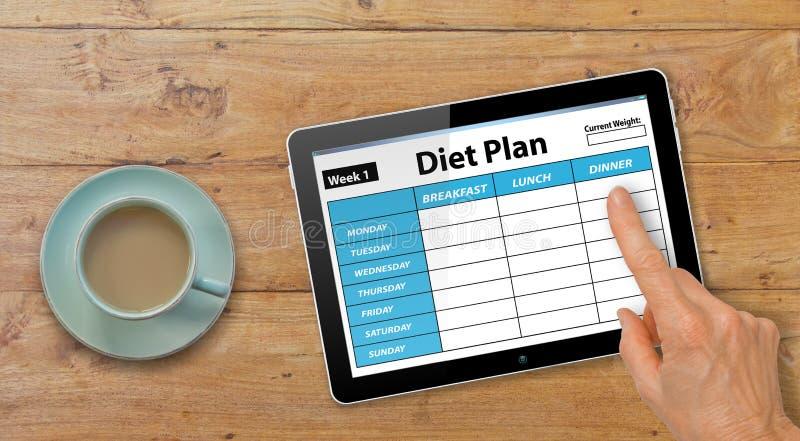有完成在表上的计算机片剂的手饮食计划App用咖啡或茶 免版税库存图片