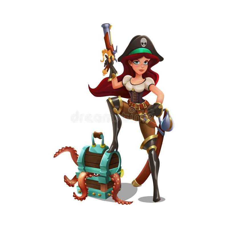 有宝物箱和章鱼的逗人喜爱的动画片海盗女孩 向量例证