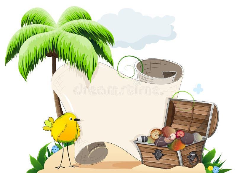 有宝物箱的热带海岛 库存例证