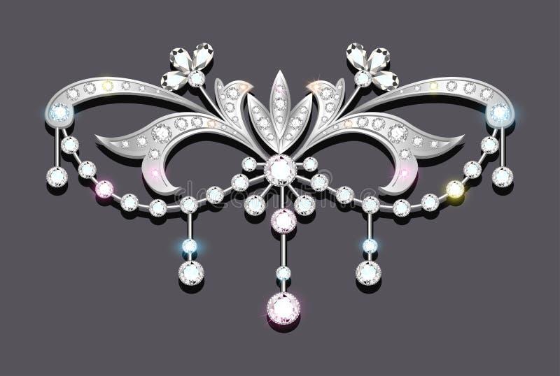 有宝石的别针 金银细丝工的维多利亚女王时代的je 皇族释放例证
