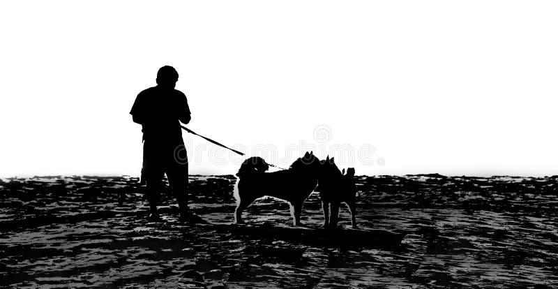 有宠物的白背景生活方式人民 免版税库存照片