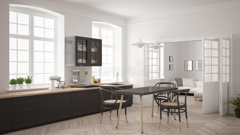有客厅的最低纲领派斯堪的纳维亚白色厨房ba的 免版税库存图片