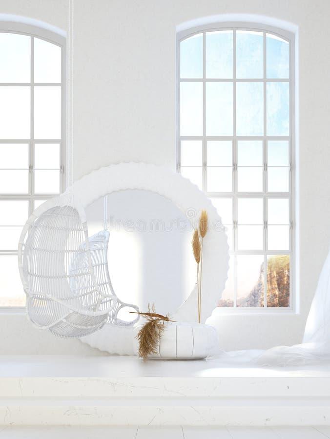有客厅的,斯堪的纳维亚漂泊样式开放卧室 皇族释放例证