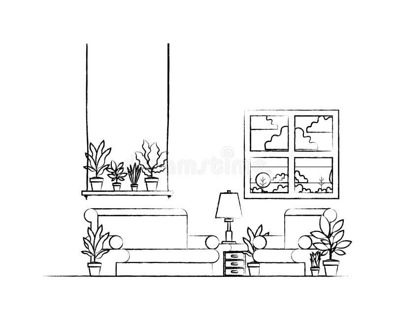 有室内植物和窗口的客厅 皇族释放例证