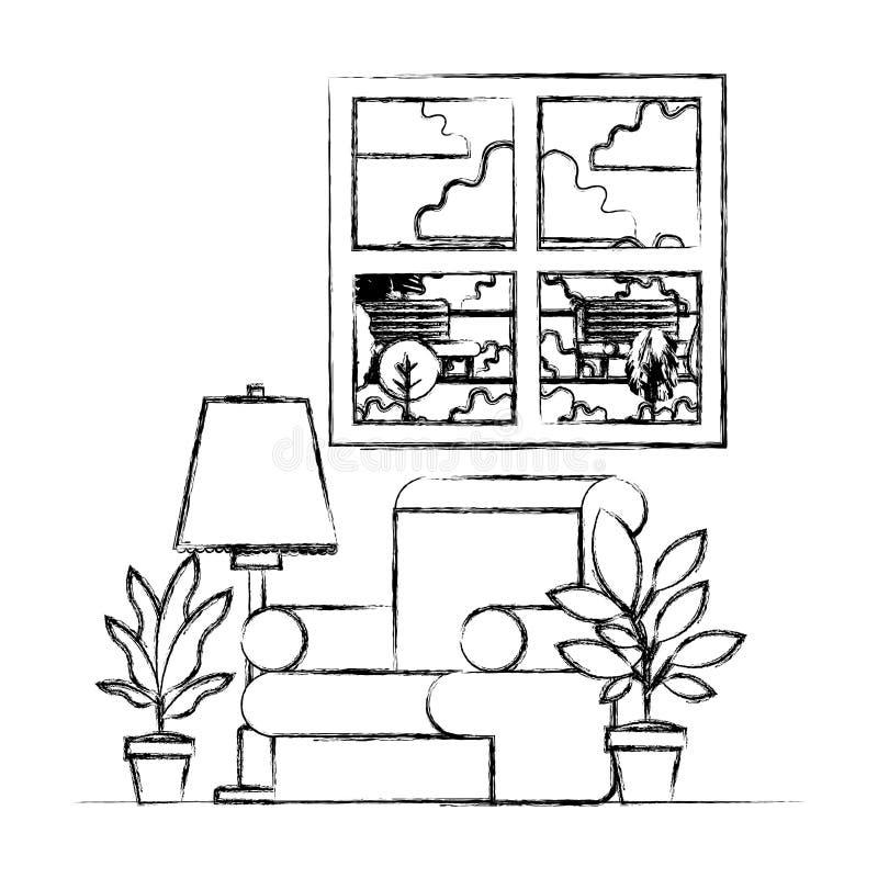 有室内植物和窗口的客厅 库存例证